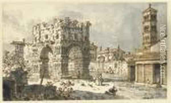The Arch Of Janus, Rome, With The Church Of San Giorgio In Velabro Beyond (recto) Oil Painting - (Giovanni Antonio Canal) Canaletto