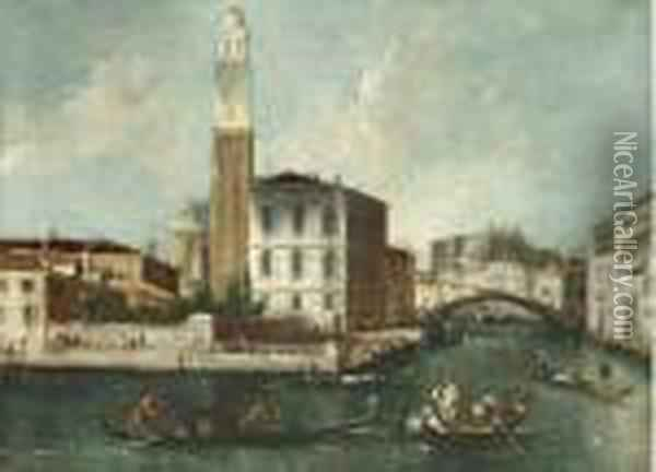 The Grand Canal, Venice, With The Church Of San Geremia Oil Painting - (Giovanni Antonio Canal) Canaletto