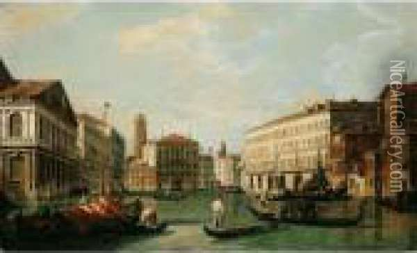 Venice, A View Of The Grand  Canal Looking North From The Palazzo Rezzonico Towards The Palazzo Balbi Oil Painting - (Giovanni Antonio Canal) Canaletto