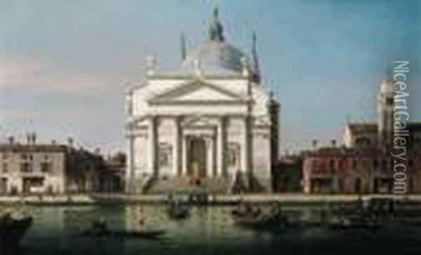 The Church Of The Redentore, Venice, With Sandalos Andgondolas Oil Painting - (Giovanni Antonio Canal) Canaletto