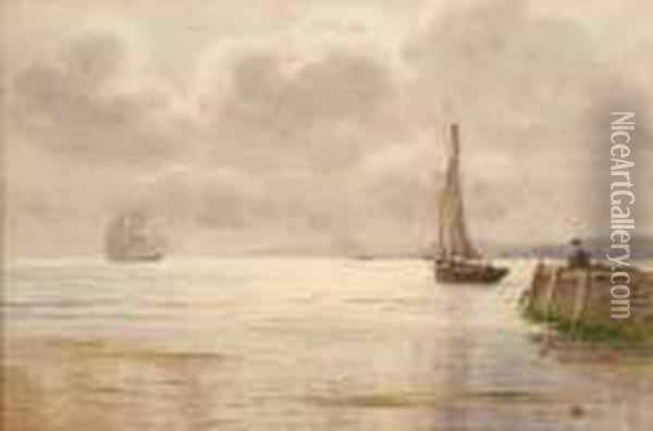 Fishing At The Harbour Oil Painting - Joseph Carey Carey