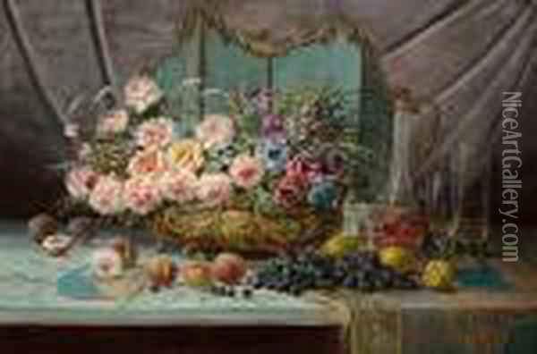 Still Life Of Flowers, Fruit, A Decanter And Glasses Oil Painting - Max Carlier