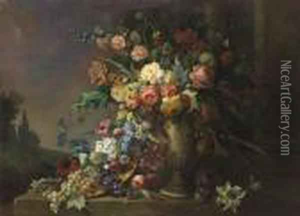 Monumental Floral Still Life With Urn Oil Painting - Max Carlier
