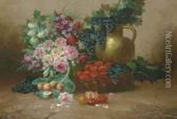 Still Life With Flowers, Fruits, Vegetables And A Copper Jug Oil Painting - Max Carlier
