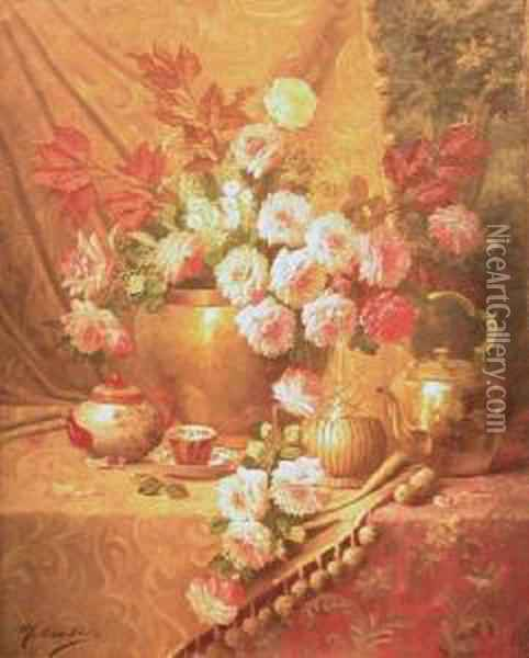 Cascading Roses Oil Painting - Max Carlier