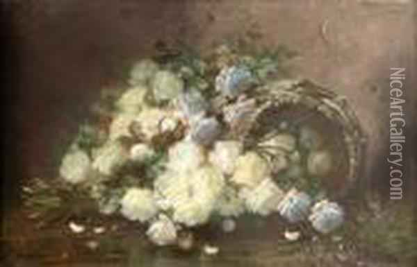 [roses Blanches.] Oil Painting - Max Carlier