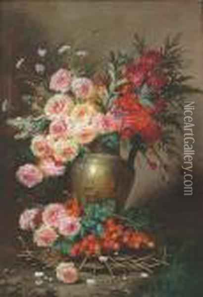 Still Life Of A Jug Filled With 
