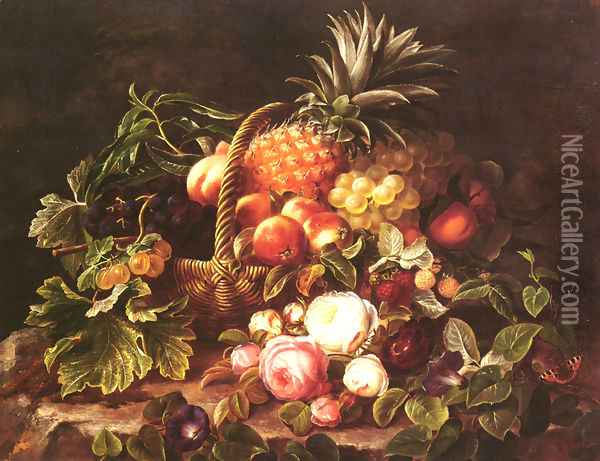 A Still Life Of A Basket Of Fruit And Roses Oil Painting - Johan Laurentz Jensen