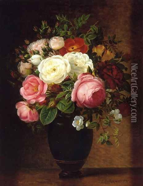 Pink and White Roses in a Black Glaze Amphora on a Brown Marble Ledge Oil Painting - Johan Laurentz Jensen