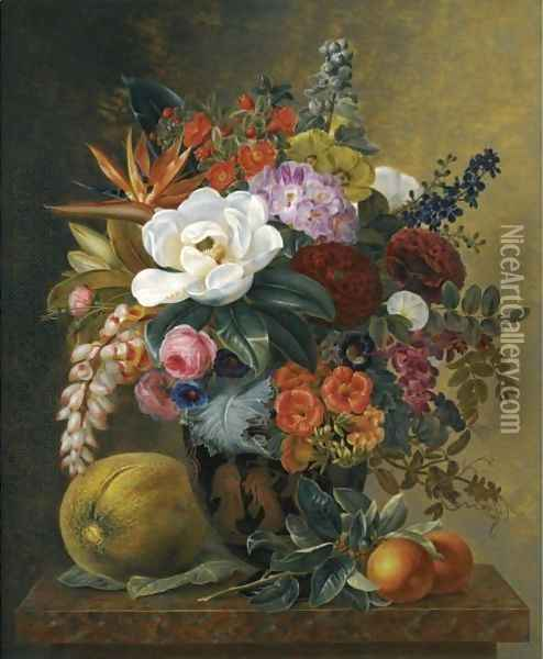 Exotic Blooms in a Grecian Urn with Fruit on a Marble Ledge Oil Painting - Johan Laurentz Jensen
