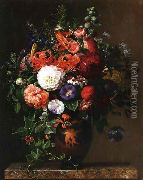 Lilies, Peonies, Violets and Roses in a Greek Figure Vase on a Marble Pedestal Oil Painting - Johan Laurentz Jensen