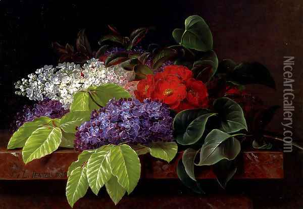 White and purple Lilacs, Camellia and Beech Leaves on a marble Ledge Oil Painting - Johan Laurentz Jensen