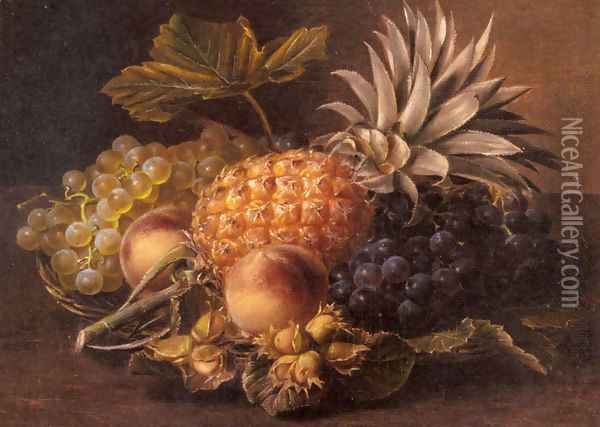 Grapes, a Pineapple, Peaches and Hazelnuts in a Basket Oil Painting - Johan Laurentz Jensen
