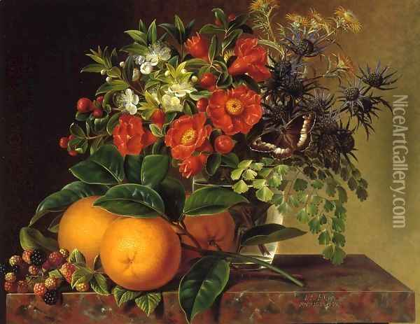Thistle, Echinops, Myrtle in a Glass Vase with Oranges, Blackberries and a Butterfly no a Brown Marble Ledge Oil Painting - Johan Laurentz Jensen