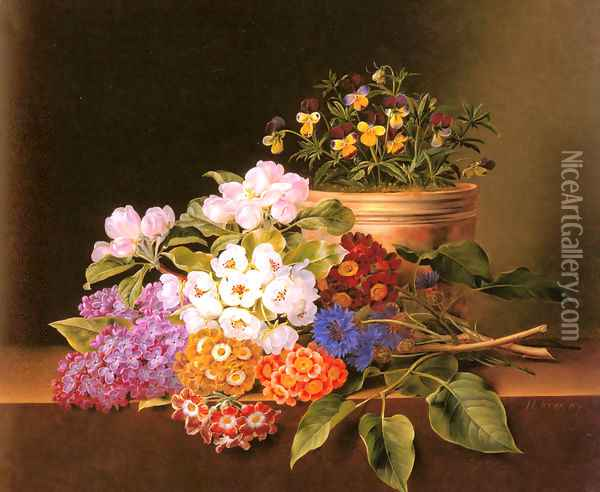Apple Blossoms, Lilac, Violas, Cornflowers and Primroses on a Ledge Oil Painting - Johan Laurentz Jensen