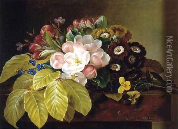 Pansies, Appleblossoms, Gloxinia, Phlox and Primula Auricula on a Brown Marble Ledge Oil Painting - Johan Laurentz Jensen