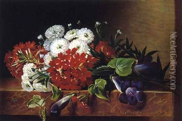 Iris, Dahlia, Pelargonium and Ivy Leaves on a Brown Marble Ledge Oil Painting - Johan Laurentz Jensen