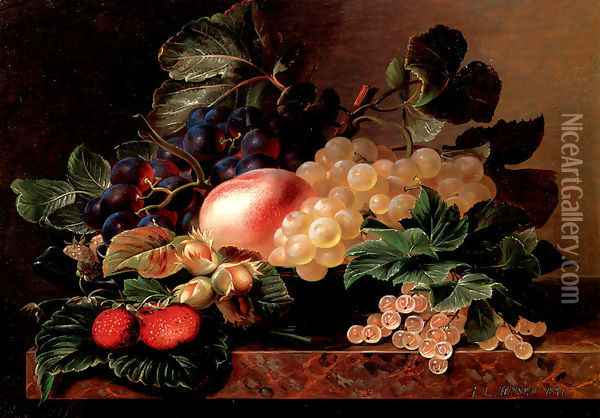 Grapes, Strawberries, a Peach, Hazelnuts and Berries in a Bowl on a marble Ledge Oil Painting - Johan Laurentz Jensen