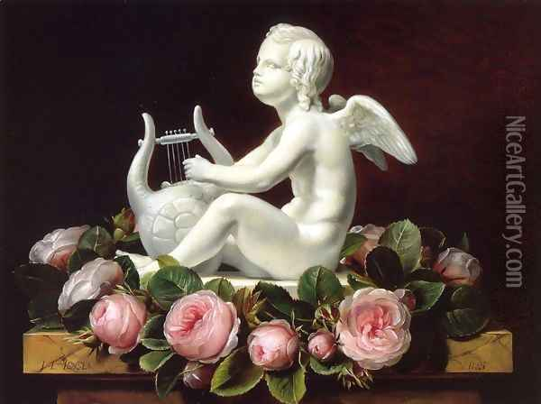 Garland of Pink Roses around 'Cupid Playing a Lyre' on a Brown Marble Ledge Oil Painting - Johan Laurentz Jensen