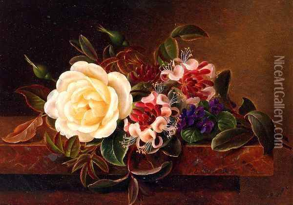 Still Life with a Rose and Violets on a Marble Ledge Oil Painting - Johan Laurentz Jensen