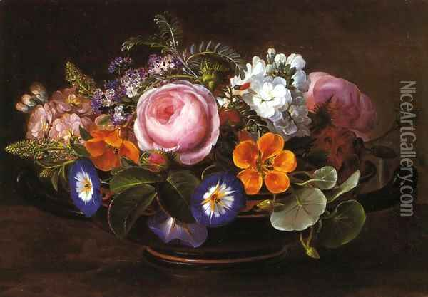 Still Life with Pink Peonies and Morning Glories Oil Painting - Johan Laurentz Jensen