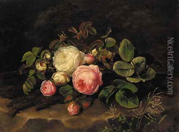 Pink and white roses on a mossy rock Oil Painting - Johan Laurentz Jensen