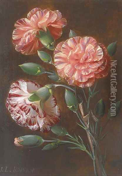 Carnations Oil Painting - Johan Laurentz Jensen