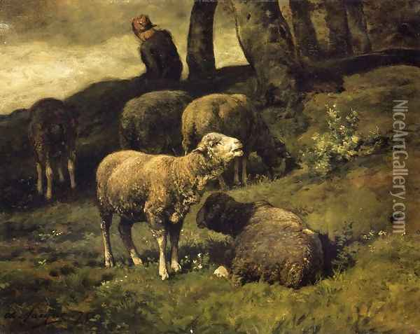 Grazing Sheep with a Sheperdhess Beyond Oil Painting - Charles Emile Jacque