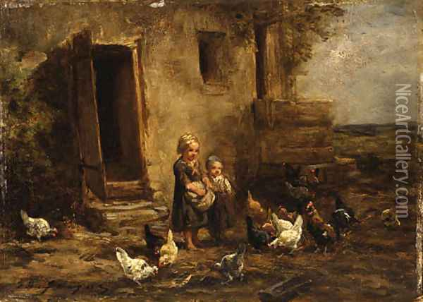 Children feeding the chickens Oil Painting - Charles Emile Jacque