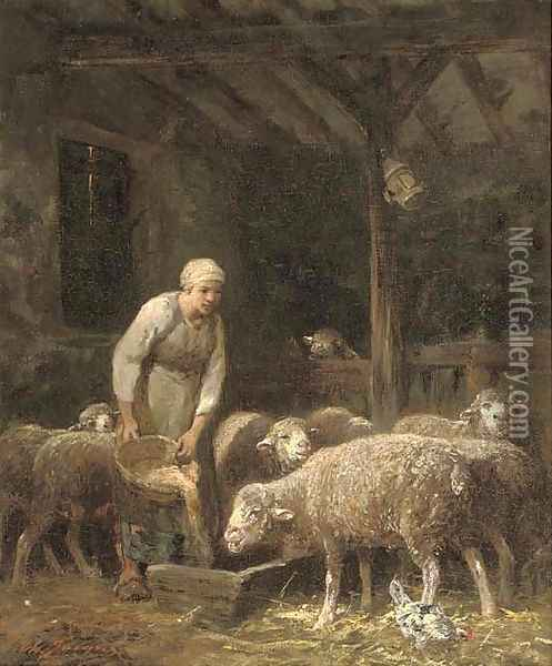 Feeding time Oil Painting - Charles Emile Jacque