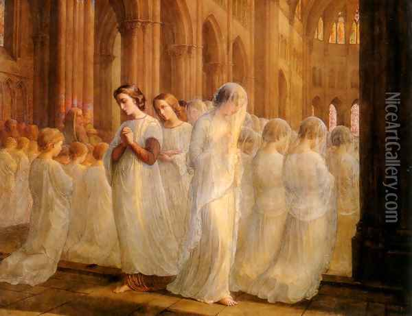 Le Poème de l'âme - Première communion (The Poem of the Soul - First Communion) Oil Painting - Anne-Francois-Louis Janmot