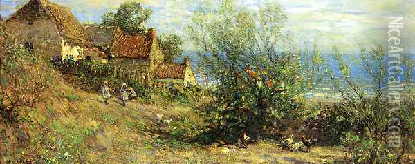 Children Playing near a Cottage Oil Painting - Frederick William Jackson