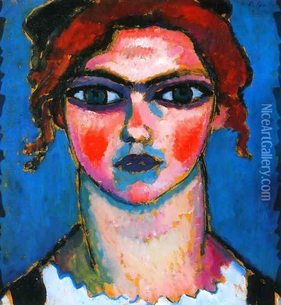 Young Girl with Green Eyes Oil Painting - Alexei Jawlensky