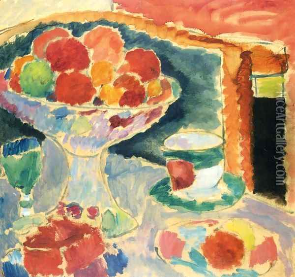 Still Life with Fruit Stand, Bohemian Glass and Empire Cup Oil Painting - Alexei Jawlensky
