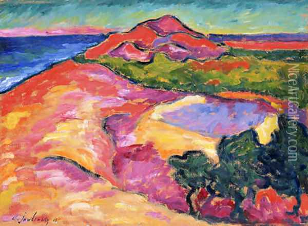 Coast Scene with Red Hill Oil Painting - Alexei Jawlensky