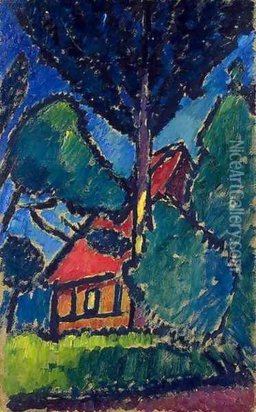 Landscape with a Red Roof Oil Painting - Alexei Jawlensky