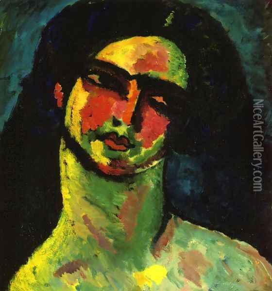 Head of An Italian Woman witih Black Hair from the Front Oil Painting - Alexei Jawlensky
