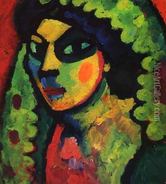Sicilain Woman with Green Shawl Oil Painting - Alexei Jawlensky