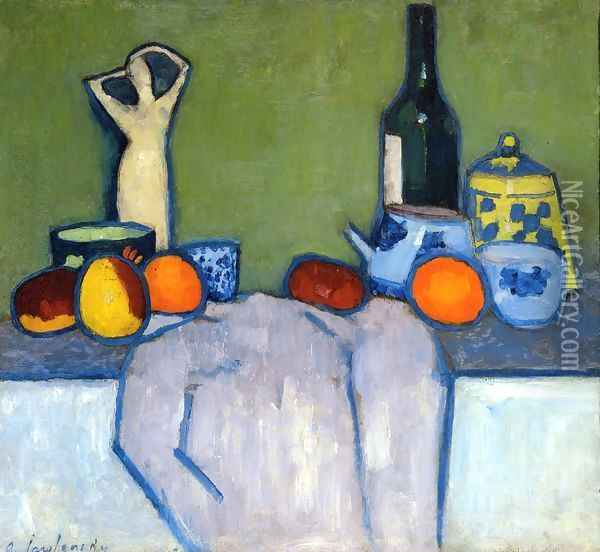 Still Life with Fruit, Figurine and Bottle Oil Painting - Alexei Jawlensky