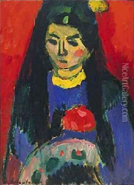 Red Blossom Oil Painting - Alexei Jawlensky