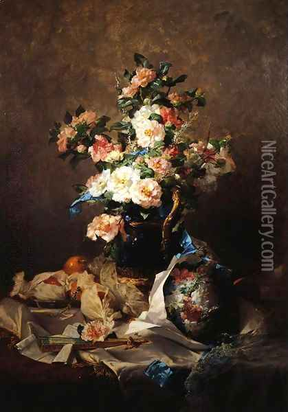 Two Bouquets Oil Painting - Georges Jeannin
