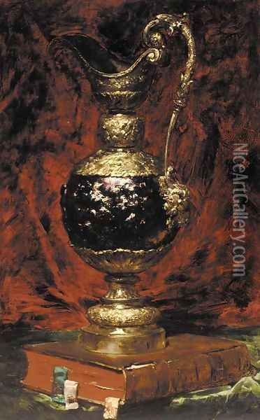 A ewer and a book on a table Oil Painting - Georges Jeannin