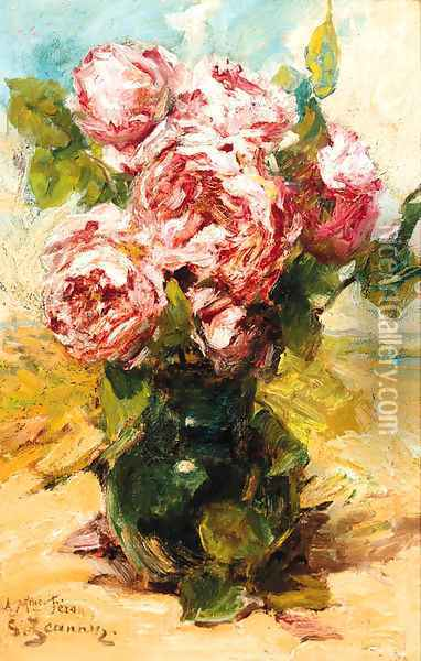 Pink roses in a vase Oil Painting - Georges Jeannin