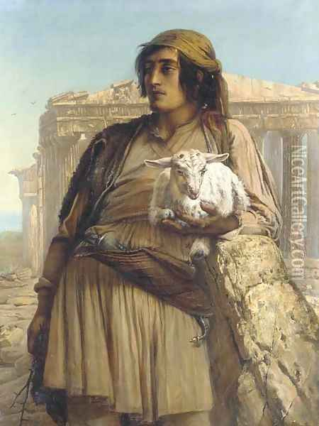 A Shepherd Boy standing before the Parthenon Oil Painting - Anna Maria Elisabeth Jerichau-Baumann