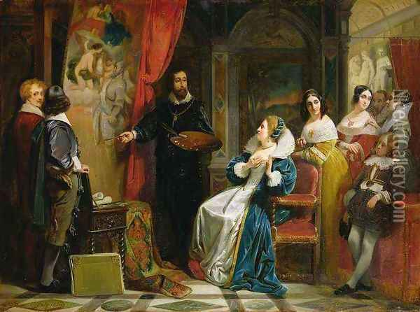 Marie de Medici 1573-1642 Visiting the Studio of Rubens Oil Painting - Claude Jacquand