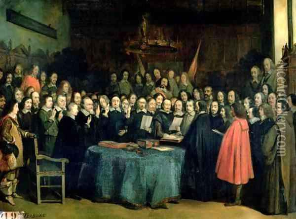 The Swearing of the Oath of Ratification of the Treaty of Munster Oil Painting - Claude Jacquand