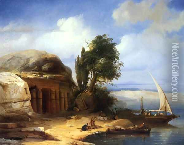 On the Banks of the Nile Oil Painting - Jacobus Jacobs