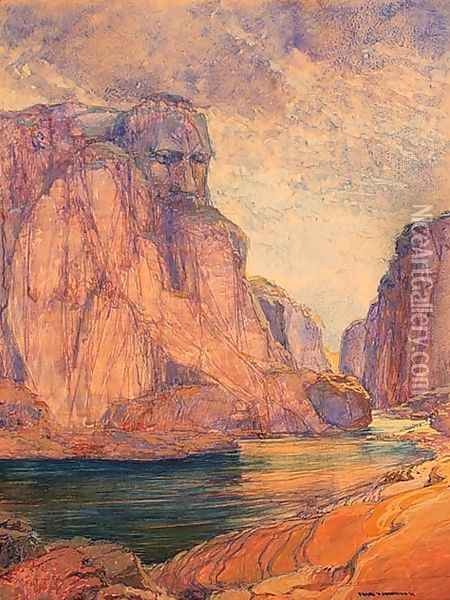 The Guardian of the Gorge Oil Painting - Frank Johnston