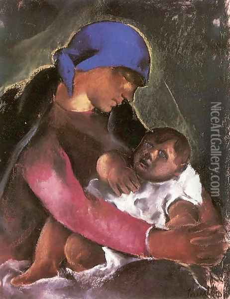 Mother and Child 1929 Oil Painting - David Jandi