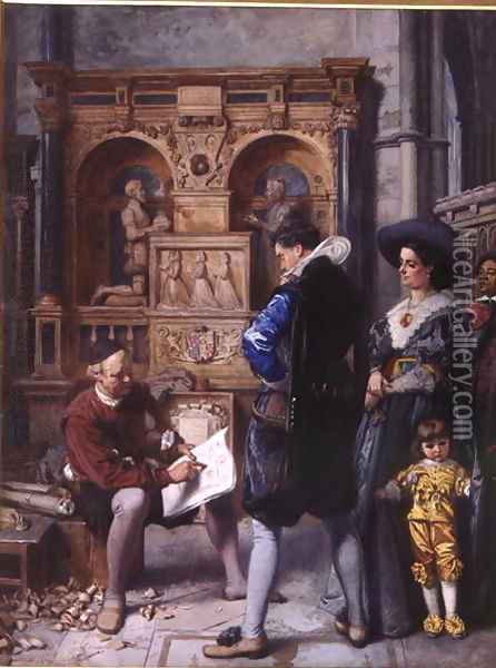A Meeting with the Architect Oil Painting - Edward Killingworth Johnson